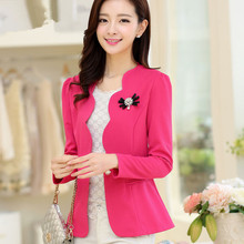 Autumn Women Coats Jackets Candy Color Jacket Long Sleeve Slim Suit One Button Plus Size L-5XL
