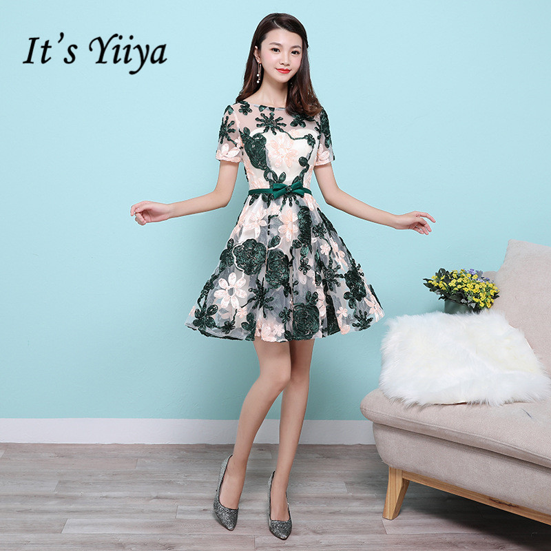 It's YiiYa Illusion Short Sleeves Embroidery Flowers Zipper Lace Cocktail Dresses Knee Length Formal Dress Party Gown MX040