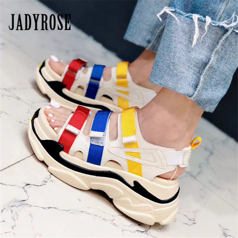 Jady Rose Colorful Women Sandals Casual Flat Shoes Woman Ladies Summer Beach Shoes Platform Creepers Women