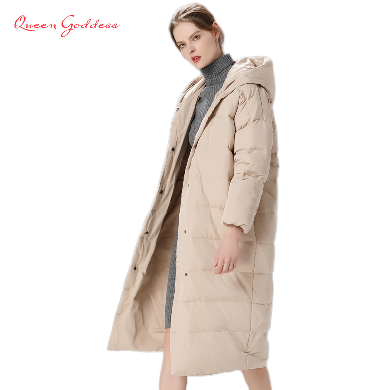 2020 Winter New Listing Fashion Simple Style Plus Size White Duck Long Down Thicken Jacket Women Parkas With Hooded Solid Color