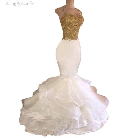 Vestidos de Baile Longo do Baile de Finalistas Vestidos de Noite Robe de Soirée Sereia Branco Spaghetti Lace Frisada Backless Partido 2020