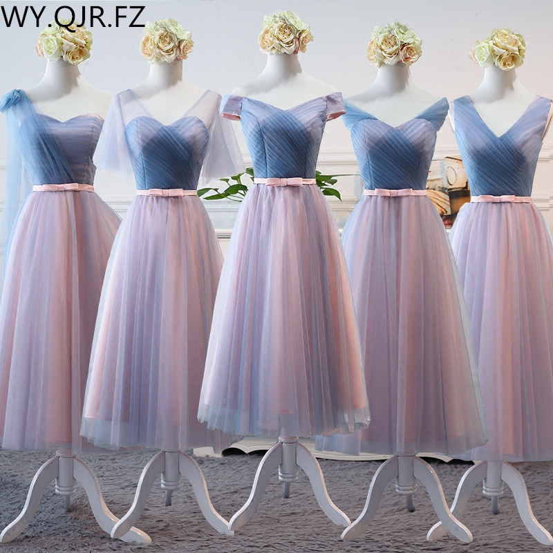 YYMY02Z#Tea-Length Middle Style V-Neck Lace Up Long Bridesmaid Dresses Wedding Party Prom Dress 2019 Wholesale Custom Clothing