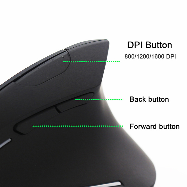 Sovawin Vertical Mouse Wireless Rechargeable USB PC Vertical Gaming Mouse Ergonomic Optical 1600 DPI 2.4Ghz For Video Game 3