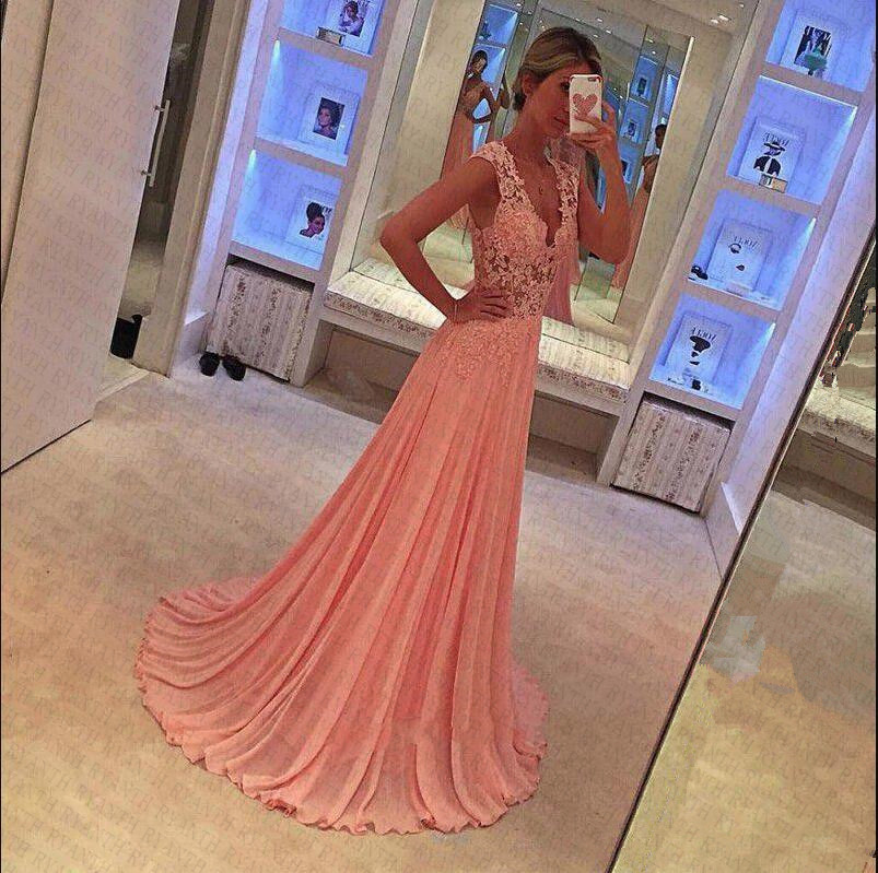 Ryanth Vestidos de fiesta 2019 Sexy Pink Long Lace   Prom     Dresses   Custom Made A Line Chiffon Evening   Dress   For Party