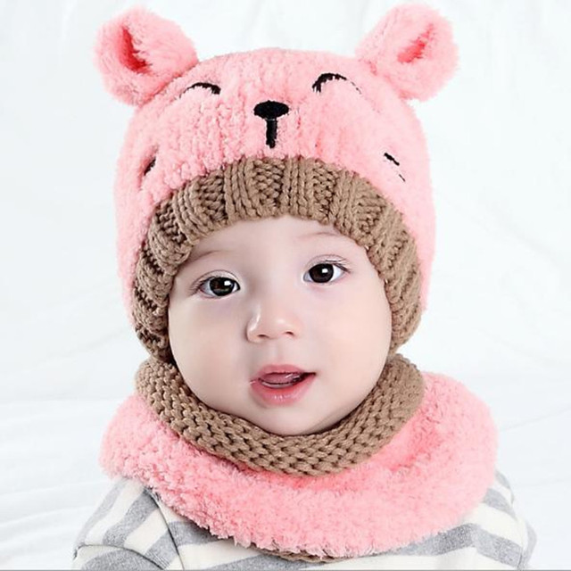 9c8ae7a6d31 Winter Hats For Girls Baby 3D Cat Kitten Hat Scarf Baby Headwear Warmers  Newborn Photography Props Accessories