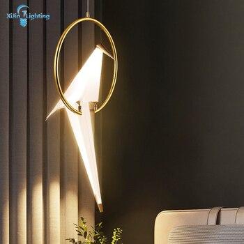 Modern Paper Crane Metal Pendant Lights For Living Room Dining Room Restaurant Bird Design LED Pendant Lamp