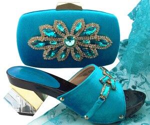 Image 4 - Neue Ankunft Pfirsich Farbe Afrikanische Frauen Passende Italienische Schuhe und Tasche Set Verziert mit Strass Italienischen Damen Schuhe QSL006