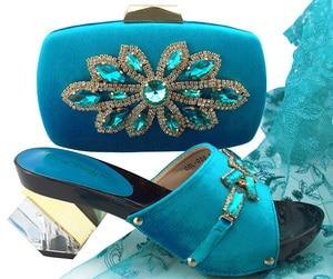 Image 4 - 新着ピーチ色アフリカの女性イタリアの靴とバッグセット装飾ラインストーンイタリアの女性の靴で QSL006