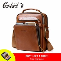 Contact's Men's Travel Bag Casual Men Messenger Bags High Quality Brand Genuine Leather Crossbody Bags For Mini Laptop 2018