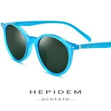 HEPIDEM Acetate Polarized Sunglasses Men 2019 Vintage Retro Round Sun Glasses for Women Brand Design Clear Transparent Sunglass