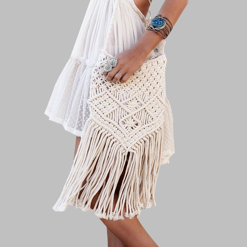 Handmade Rope Woven Handbag Knitted Rattan Summer Beach Bag Tassel Bohe Bolsos Feminine Crochet Fringed Women Shoulder Bags New 42x37cm original handmade knitted handbag with flax rope retro shoulder bag genuine leather handle linen crochet bag a2940
