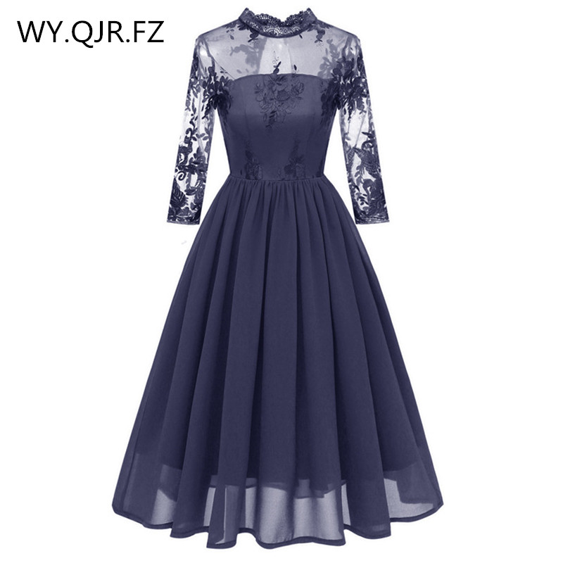 PTH-CD1661#Lace Embroidery Chiffon Short Pleated Bridesmaid Dresses Blue Wedding Party Dress Gown Prom Wholesale Fashion Clothes