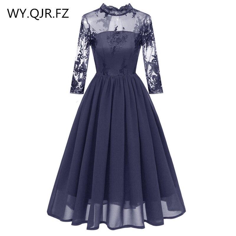 PTH-CD1661 # dentelle broderie en mousseline de soie courte plissée robes de demoiselle d'honneur bleu robe de soirée de mariage robe de bal en gros vêtements de mode