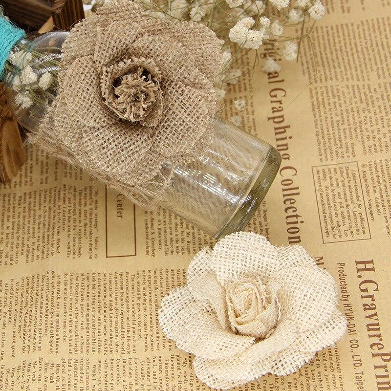 "3/"" Burlap Rustic Flowers Rose 100 pcs Chic,Wedding Decor,Craft Country Hemp"