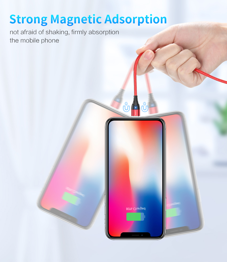 FLOVEME Magnetic Micro USB Type C Lightning Charging Cable For iPhone And Mobile Phones 7