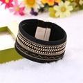 Steampunk handmade pulseiras de couro para mulheres e homens de moda jóias de ouro banhado a pulseira magnética pulseira anel anillos