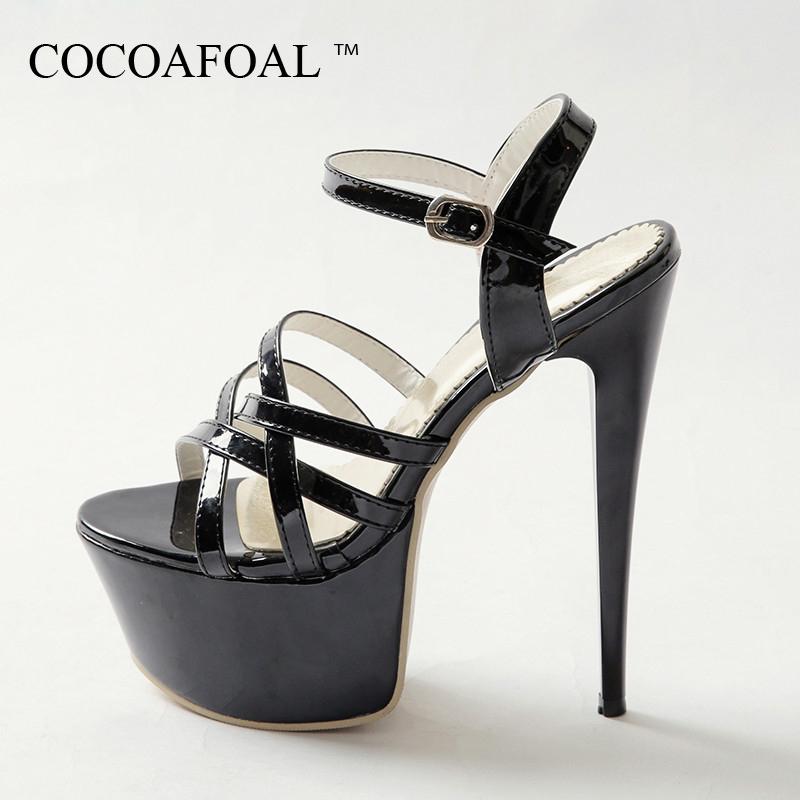 90a8af7ed67c COCOAFOAL Women High Heels 16 CM Sandals Plus Size 31 - 48 Black White Wedding  Shoes Party Fashion Sexy Red Peep Toe Pumps 2018