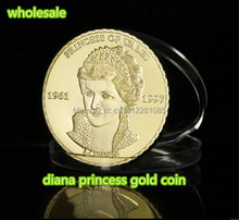 Princess Diana gold plated coin princess of england 1961-1997 DHL Free shipping 100 PCS/LOT 5 pcs lot free shipping 100