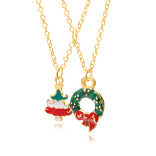 Two-piece Christmas Theme Necklace Pendant Cute Tree Green Wreath Fashion Jewelry Gift