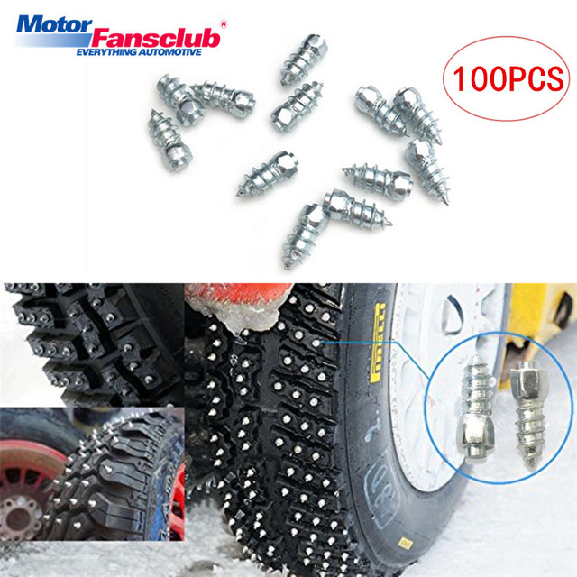 US $9 89 55% OFF|100PCS 12*4mm Car Tires Studs Screw Spikes Wheel Tyres  Snow Chains Studs For Motorcycle Vehicle Van ATV Winter MS4 12 Universal-in