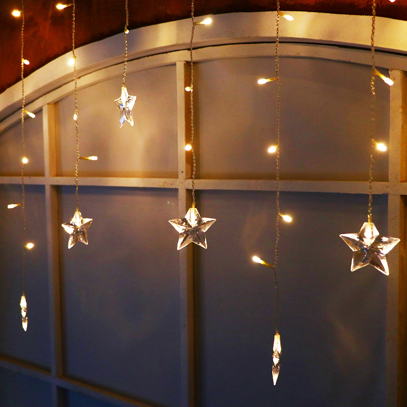 JULELYS Star LED Curtain Light Christmas Garland Window LED Lights - Holiday Lighting