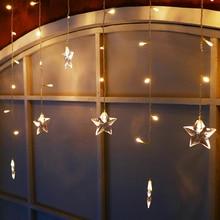 JULELYS Звезда Светодиодный занавес Свет Рождества Гарланд Окно Светодиодные огни Украшение для свадьбы Праздничная вечеринка Главная Комната Festoon Decor