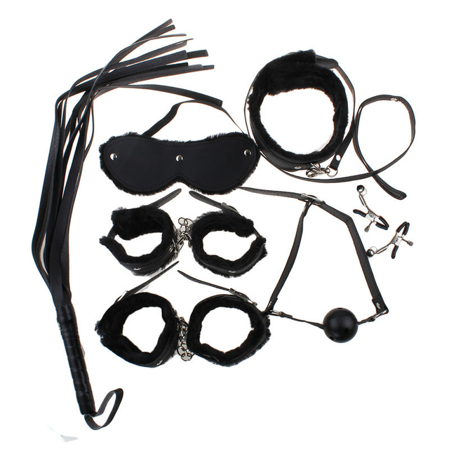 7Pcs/Set Sex BDSM Bondage Kit Sex Toys for Couples Fetish Adult Games Nipple Clamps Mouth Gag Whip Slave Collar Mask Handcuffs