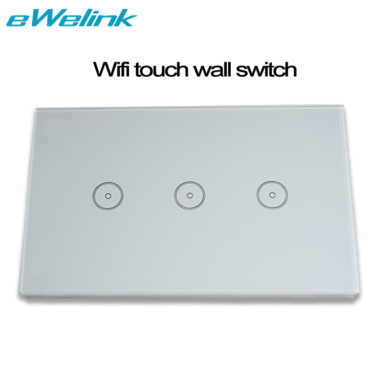 United States version 3 gang wi-fi wall sensor touch switch work with amazon alexa smart remote control by phone on / off touch