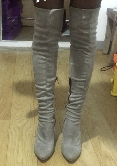 2017 новый осень-зима бота сапоги выше колена сапоги для девочек и ботинки для женщин туфли-botas ботас мухер высокий каблук сапоги и ботинки для девочек эластичные обтягивающие сапоги из замши