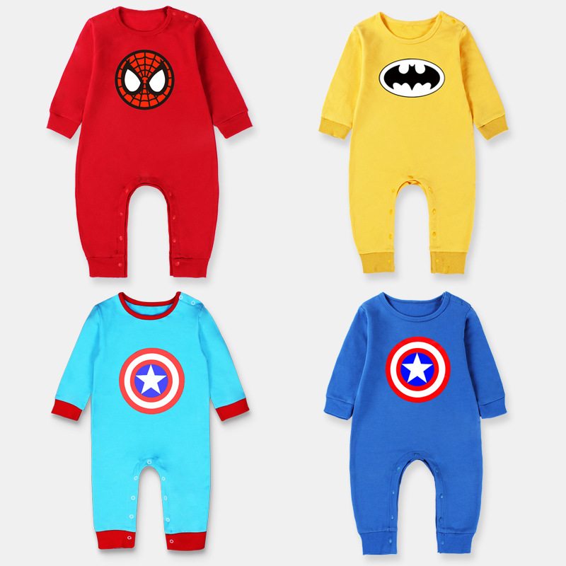Spring And Autumn New Baby Jumpsuit Superhero Cotton Long-sleeved Crawler 0-1 Years Old One Generation Wholesale Bodysuits