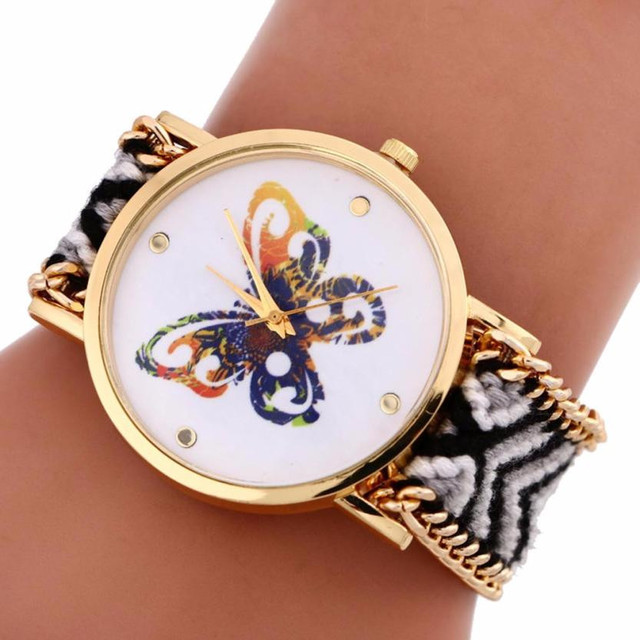 TZ#502 Women Colorful Butterfly Pattern Knitting Dial Quartz Bracelet Watch Free Shipping