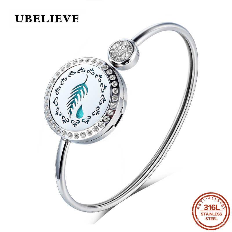 UBELIEVE модные очаровательный браслет серебро Цвет открытие Регулируемый женские круглый 316L нержавеющая сталь браслеты и 25 мм