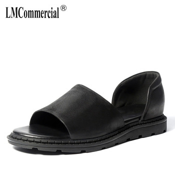 Summer real leather breathable trend British youth leisure Roman sandals cowhide fashion beach shoes Slippers casual Flip Flops leather