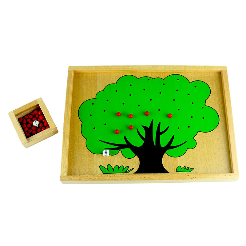 High Quality Montessori Material Wooden Apple Tree Box Toy Montessori Math Toys Beech Wood Early Learning Education Math Toys new arrival female embossed leather backpack oil wax cowhide genuine leather women vintage rucksack brand girls book bag daypack