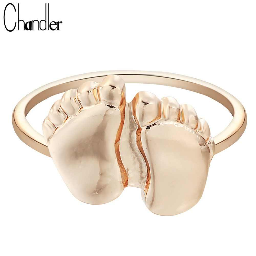 Chandler Wholesale 1pcs Silver Gold Plate Two Feet Rings Baby Foot For Women Minimalist Jewelry Pinkie Luxury Femme Homme Bijoux