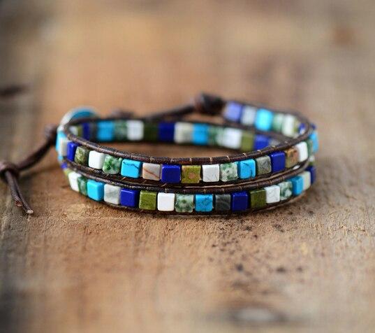 Leather Bracelets High End Mix Square Natural Stones 2 Strands Leather Wrap Bracelets Vintage Weaving Boho Bracelet Dropshipping bracelet