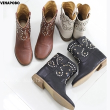 2018 Fashion Hot Sales Genuine Leather Brown Ankle Women Boots Increased Flats Crystal Studs Slip On Runway Shoes Woman