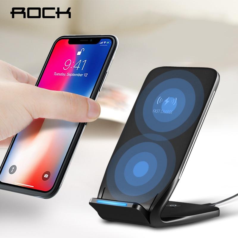 ROCHA Dual Bobina Qi Carregador Sem Fio Carregador 10 W para o iphone 8 10 X Samsung Nota 8 Telefone Rápido Carregamento Pad Doca Docking estação