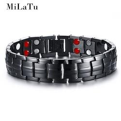 Milatu 3 colors men s health bracelet bangle stainless steel chain link bracelet male bioenergy magnetic.jpg 250x250