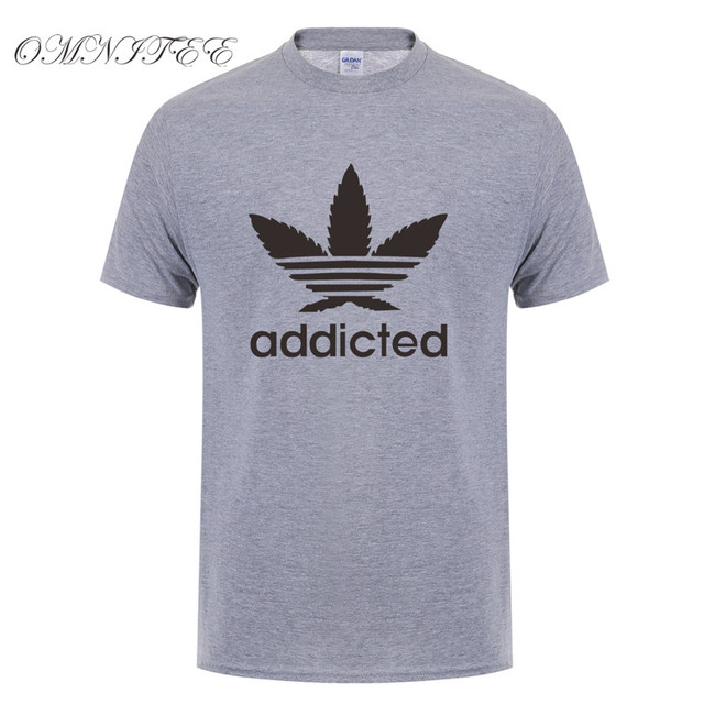 New Addicted White Leaf T Shirt Men Summer Fashion Short Sleeve Cotton Weed Day T Shirts O-neck Funny Mens T-shirt Tops OT-939 3