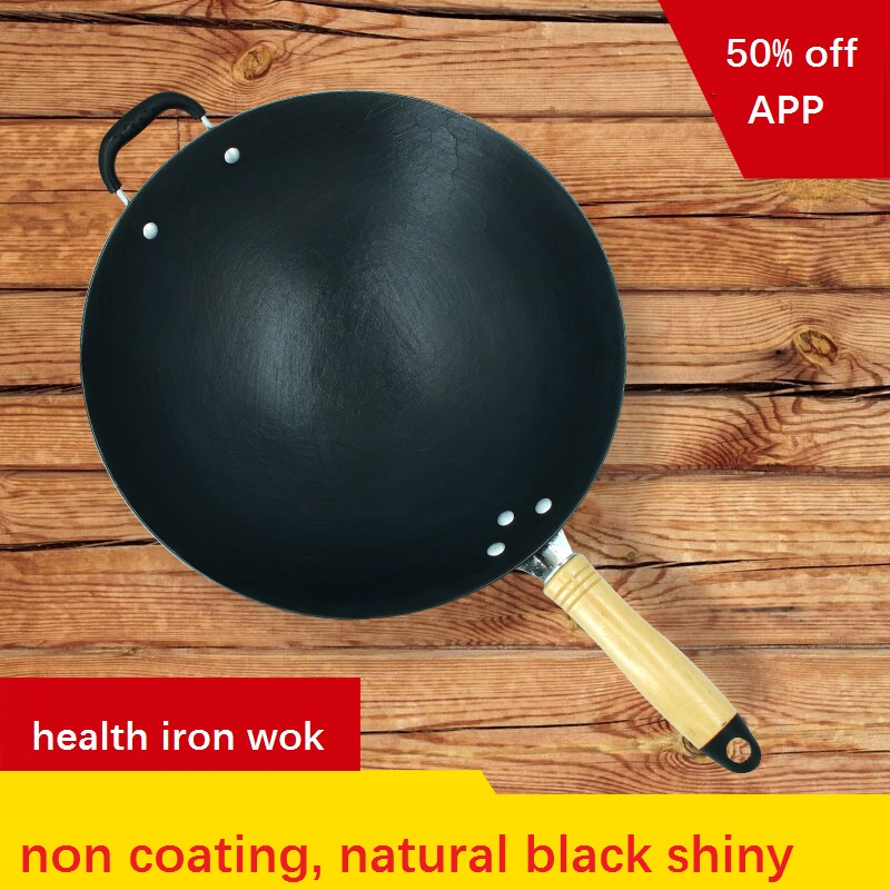 Cottura wok di CAMPEGGIO di PICNIC/USO DOMESTICO ghisa cottura pan acciaio wok padella da cucina pentole pentola profonda no-rivestimento balck lucido