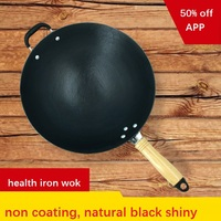cooking wok CAMPING PICNIC / HOME USE cast iron cooking pan steel wok deep frypan cookware kitchen pot no coating balck shiny