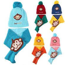 Фотография CHINATERA 2017 Hot Sale  2pcs Sets Autumn Winter Baby Hat Scarf Set Thickening Knitted Kid Cute Fleece Cap Warm Hat
