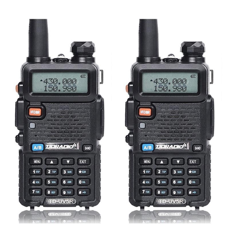 2pcs Walkie Talkie TID TD-UV5R Radio Stations VHF UHF 136-174MHz&400-520MHz Professional Portable Ham Radio Two Walkie Talkies