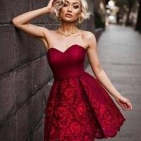 2017 celebrity zomer jurk rood formele cocktail homecoming gown korte zoete hart strapless Een lijn vestidos robe de soiree