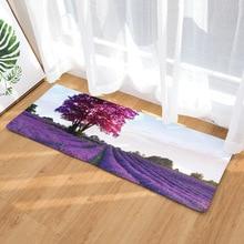 3D Lavender Garden Forest Printed Kitchen Bedside Area Rugs Flannel Toilet Carpet Bathmat Outdoor Stair Floor Mats 40x120cm