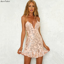 bd419782cba8 BornToGirl Women Sequin Sexy Backless Short Dress Female Autumn Party Night  Club V Neck Sexy Pink Dress robe femme