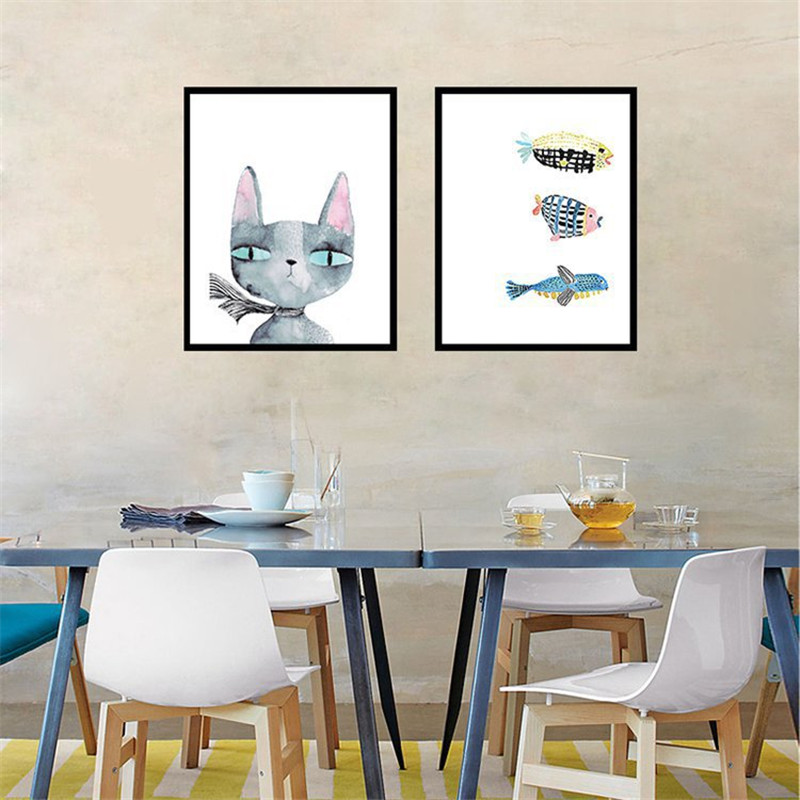 HAOCHU Cat Fish Painting Modern Canvas Background Design Art Print Wall Picture Living Dining Room Restaurant Corridor Decor