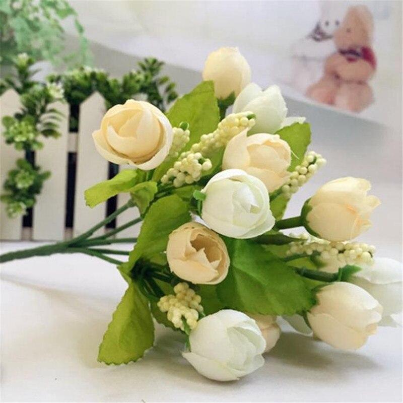 15 Cabezas Inusual Rosa Artificial Flor de Seda Falso Hoja Decoración Ramo de No