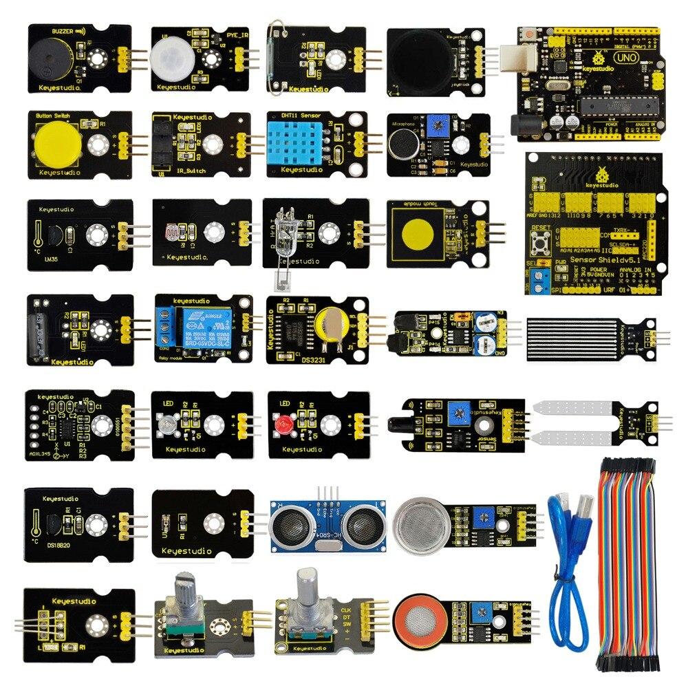 Frete Grátis! Novo Sensor Starter Kit (unor3 + Escudo V5) Para Arduino Unor3 Projeto Com Caixa De Presente + Pdf (online)